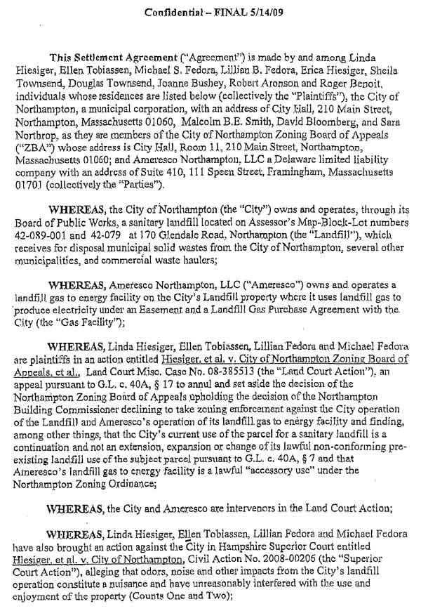 Final Settlement Agreement To Purchase Homes By Landfill May 2009